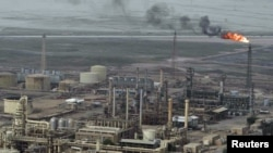An aerial view of the Al-Sheiba oil refinery in Basra