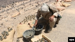 Yemen - A tribal fighter loyal to Yemen's Saudi-backed government inspects landmines, allegedly planted by Houthi rebels, after they seized control of areas in Marib province, Yemen, 04 October 2015