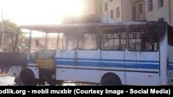 Uzbekistan - bus burnt in Samarkand city, 11 July 2014