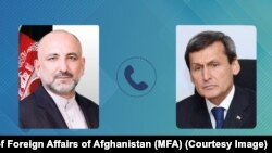 محمد حنیف اتمر، وزیر خارجه افغانستان (چپ) و رشید مریدوف، وزیر خارجه ترکمنستان