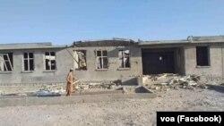 ساختمان تخریب شده مکتب توسط شورشیان مسلح در کندهار