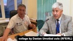 Бывший председатель Ошской ТИК Кушубак Ныязбеков и новый - Урмат Аттокуров.