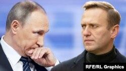 Владимир Путин и Алексей Навальный, коллаж