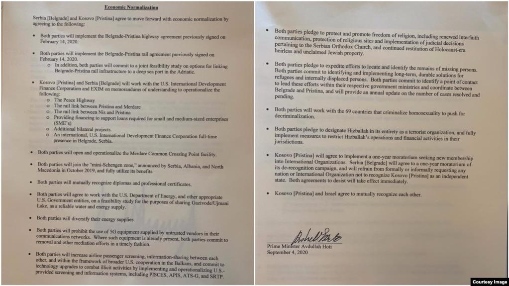 Nënshkrimi i marrëveshjes për normalizim ekonomik nga kryeministri i Kosovës, Avdullah Hoti në Uashington, 4 shtator.