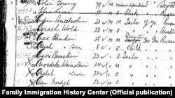Із архівів American Family Immigration History Center: такий вигляд мала реєстрація нових прибульців. На цій сторінці, серед інших, є вихідці з Російської імперії 28-річний Макс Блімкін, тесля, і його 8-річний син Герш
