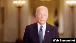 9/11 шабуылын еске алу күні қарсаңында АҚШ президенті Джо Байденнің видео мәлімдемесі. 10 қыркүйек 2021 жыл. Скриншот.