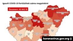 Az igazolt fertőzöttek száma megyei bontásban Magyarországon 2020. október 27-én.