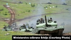 Serbia's military performs during the Lightning Strike exercises on June 27.
