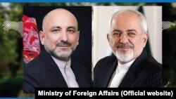حنیف اتمر وزیر خارجه افغانستان (چپ) و جواد ظریف وزیر خارجه ایران