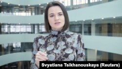 Belarusian opposition leader Svyatlana Tsikhanouskaya speaks in Vilnius on March 18.