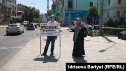 Пикет в поддержку Абдулмумина Гаджиева в Махачкале, 5 июля