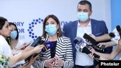 Armenia - Health Minister Anahit Avanesian speaks to journalists in Yerevan, July 26, 2021.