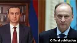 Секретарь Совета безопасности Армении Армен Григорян (слева) и Секретарь Совета безопасности России Николай Патрушев