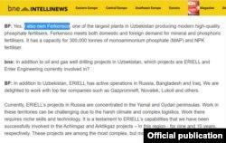 Intellinews интернет нашрига берган интервьюсида Бахтиëр Фозилов ўзига қарашли айрим компаниялар номини тилга олган эди.
