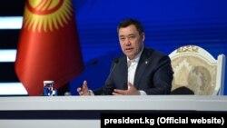 Садыр Жапаров на пресс-конференции. 12 ноября 2020 года.