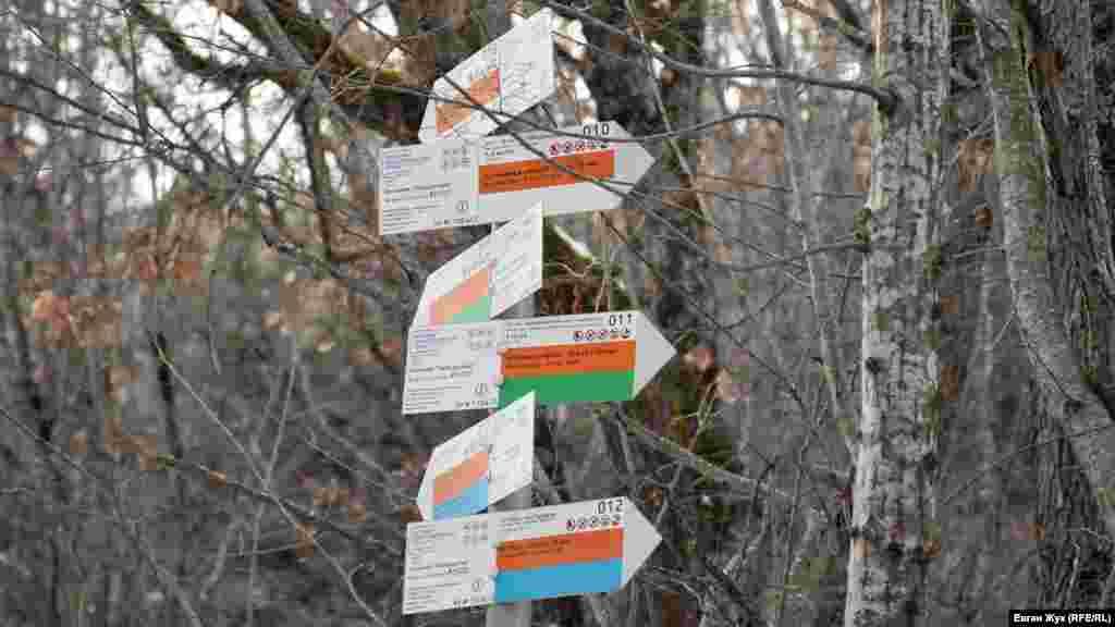 Указатели туристической Большой севастопольской тропы подсказывают, куда и за сколько можно дойти от Торопова озера