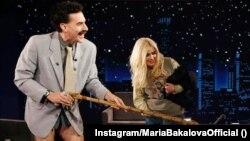 Саша Барън Коен и Мария Бакалова по време на участието им в шоуто на Джими Кимъл през октомври