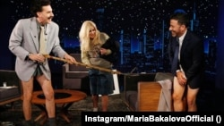 Sacha Baron Cohen (left) and Bulgarian actress Maria Bakalova joke around in character with U.S. talk-show host Jimmy Kimmel to promote the new Borat Subsequent Moviefilm.