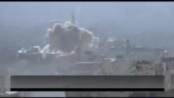 Dəməşq ətrafında bombardmanın dramatik görüntüləri