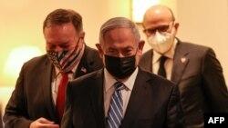 ԱՄՆ պետքարտուղարը Իսրայելի վարչապետի ուղեկցությամբ ժամանում է ասուլիսի համար նախատեսված վայր, 18 նոյեմբերի, 2020թ.
