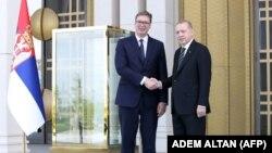 Foto ilustruese. Presidenti i Serbisë, Aleksandër Vuçiqi takohet me presidentin e Turqisë, Rexhep Tayip Erdogan.