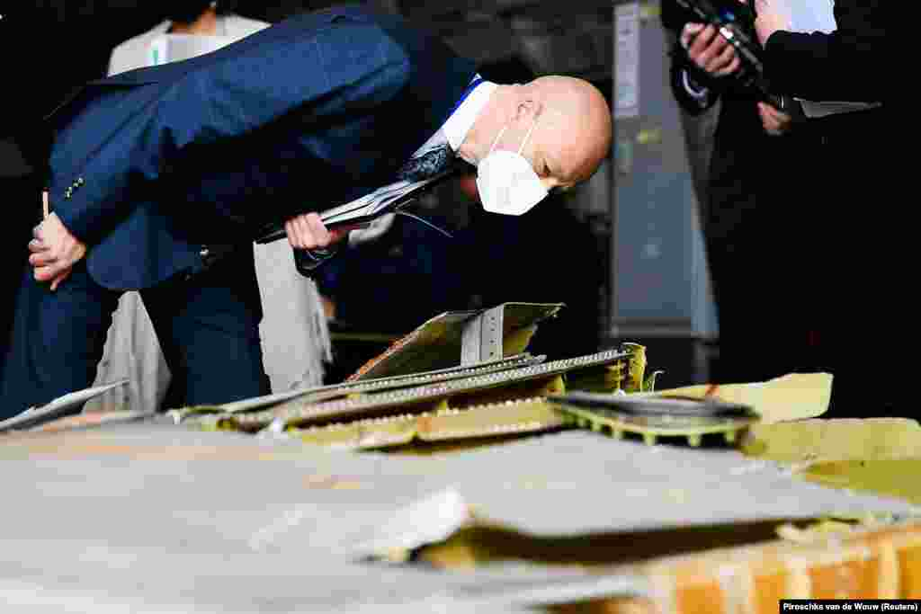 """Presiding Judge Hendrik Steenhuis (pictured) told reporters during the inspection,""""We realize that this visit to the reconstruction of MH17 as part of the official criminal process will be very emotionally loaded for relatives."""""""