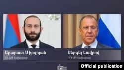 Министр иностранных дел Армении Арарат Мирзоян (слева) и глава МИД России Сергей Лавров