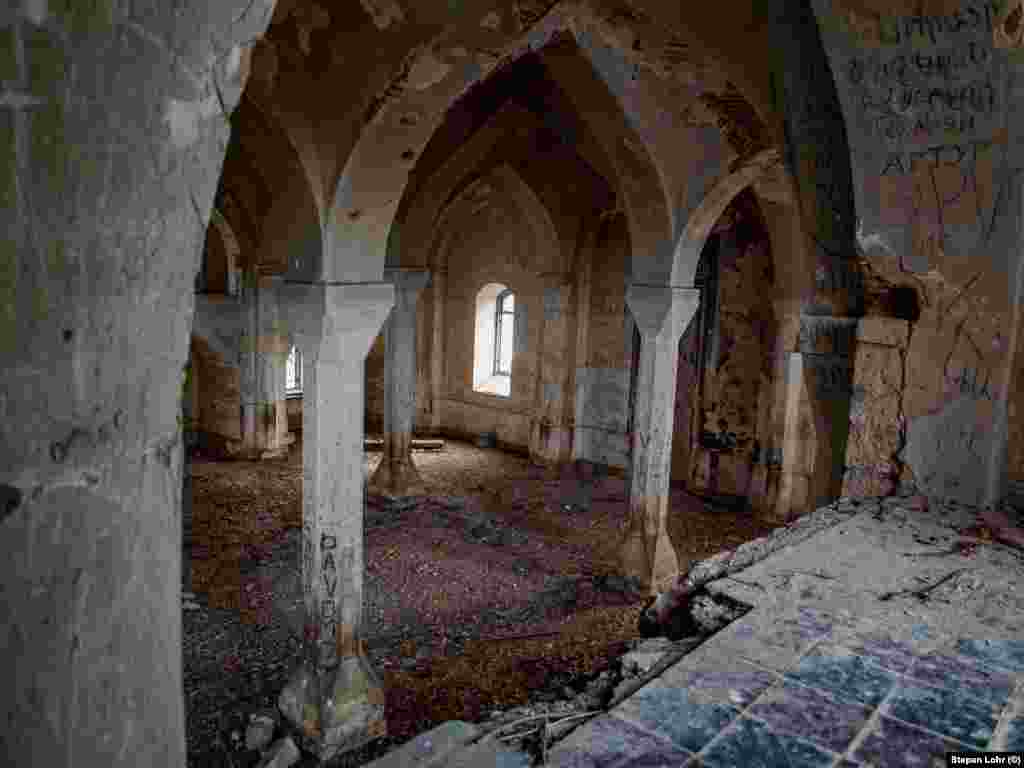The neglected and damaged interior of Agdam's once-glorious mosque.