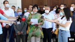 Фотографија од денешната прес-конференција на Иницијативниот одбор во ВМРО-ДПМНЕ за вонреден конгрес и оставка на Христијан Мицкоски