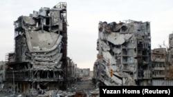 Pamje nga disa lagje të shkatërruara nga lufta në Siri.