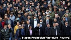 ARMENIA -- Armenian Prime Minister Nikol Pashinian and his supporters march during a rally in Yerevan, February 25, 2021
