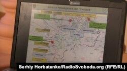 Командующий ООС Виктор Ганущак демонстрирует новые точки разведения на Донбассе: Григорьевка, Славяносербск, Петровка и Нижнетеплое