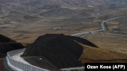 A recently completed border wall section in eastern Turkey along the border with Iran.