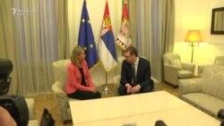 Mogherini takohet me Vuçiqin në Beograd