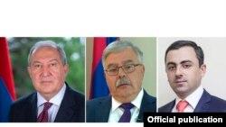 Слева направо: президент Армении Армен Саркисян, представитель бюро АРФ «Дашнакцутюн» Акоп Тер-Хачатурян и представитель Верховного органа АРФД Ишхан Сагателян