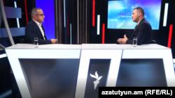 Министр экономики Ваан Керобян в студии Азатутюн ТВ, Ереван, 9 августа 2021 г.