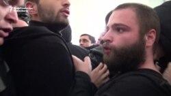 Rival Student Protesters Scuffle In Tbilisi