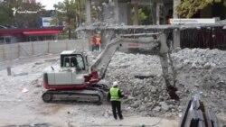 «Куб» под снос: рабочие продолжают демонтаж скандального торгового центра в Симферополе (видео)