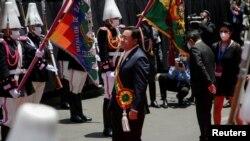 لوییس آرسه در مراسم ادای سوگند به عنوان رئیس جمهور جدید بولیوی