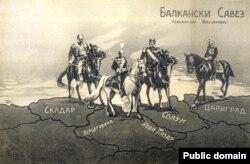 Liga Balcanică, carte poștală sârbească, 1912