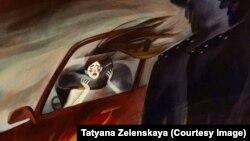 Иллюстрация Татьяны Зеленской к истории с похищением и убийством Айзады Канатбековой, 8 апреля 2021 г.