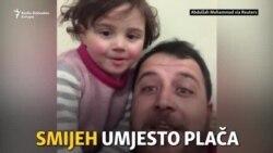Otac tješi kćerku smijehom dok padaju bombe u Siriji