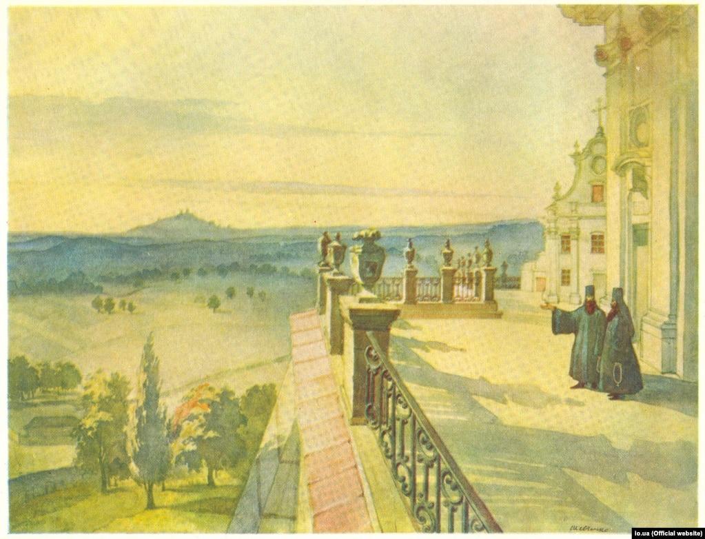 Тарас Шевченко «Вигляд на околиці з тераси Почаївської лаври» (акварель), 1846 рік