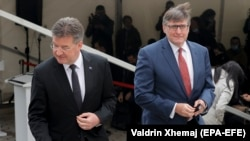 Miroslav Lajcak (left), the EU's special representative for the Pristina-Belgrade Dialogue, and U.S. Deputy Assistant Secretary of State Matthew Palmer are seen following meetings with Kosovar political leaders in Pristina on June 1.