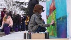 Графіті-флешмоб до «Дня республіки» у Криму (відео)