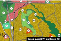 По-голяма част от имотите, върху които попада гората в Коджа тепе, са предвидени в ОУП за курортна зона за комплекси в зелена среда (светлозеленото в средата - Ок1)