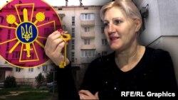 Фотоколаж: колишня українська військова Тетяна Шевчук із ключем від службової квартири в Севастополі
