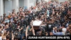 Funeraliile lui Lekso Lașkarava la Tbilisi, Georgia, 13 iulie 2021