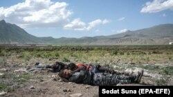 چند پناهجوی افغان در نزدیکی مرز ترکیه و ایران. این افراد با چند روز گرسنگی کشیدن منتظر قاچاقچی بودند تا آنها را به دیاربکر برساند