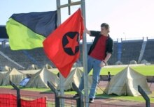 Russia -- Anti globalists camp in the St.Petersburg's stadium on the threshold of G8 summit, 13Jul2006